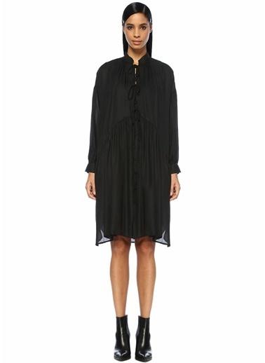 IRO Dik Yaka Büzgülü Düşük Kol Midi Elbise Siyah